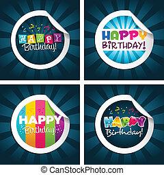 anniversaire, autocollants, heureux