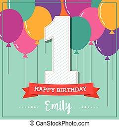 anniversaire, ballons, carte voeux, heureux