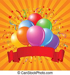 anniversaire, ballons, conception