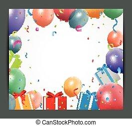 anniversaire, ballons, fond