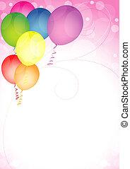 anniversaire, ballons, heureux