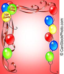 anniversaire, ballons, invitation