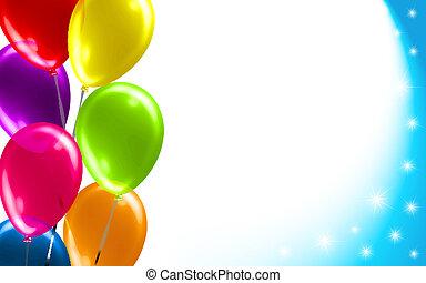 anniversaire, balloon, fond