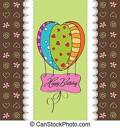 anniversaire, balloons., carte, heureux