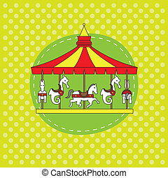 anniversaire, card., carrousel