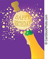 anniversaire, champagne, heureux