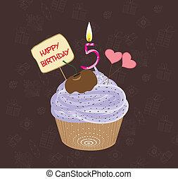 anniversaire, cinq, nombre, petit gâteau