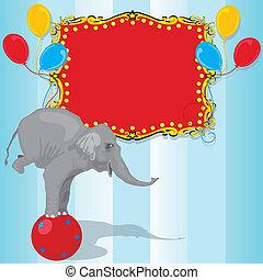 anniversaire, cirque, fête, éléphant