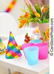 anniversaire, closeup, bébé, table, décoré, célébration