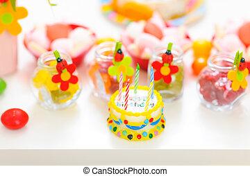 anniversaire, closeup, enfant, table, décoré, célébration