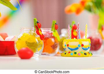 anniversaire, closeup, table, bébé, fête, décoré