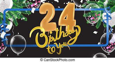 anniversaire, coloré, heureux, ballons, 24th, fond, fête