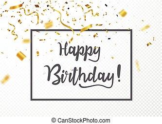 anniversaire, confetti, heureux, célébrations, or