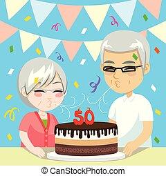 anniversaire, couples aînés, 50