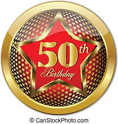 anniversaire, doré, th, bouton, 50