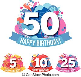 anniversaire, emblèmes, joyeux anniversaire, félicitations