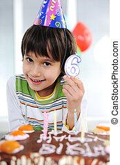 anniversaire, enfant, 6, vieux, années