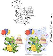 anniversaire, ensemble, collection, alligator.