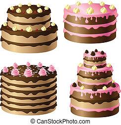 anniversaire, ensemble, gâteau