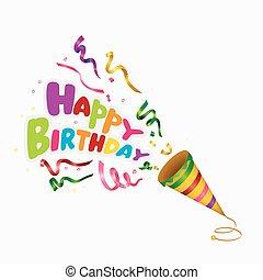 anniversaire, exploser, coloré, heureux