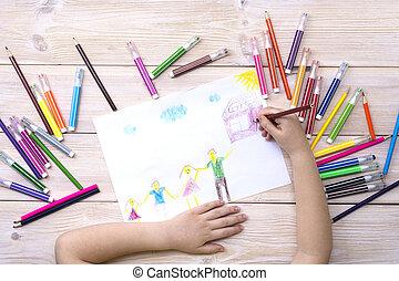 anniversaire, fait, pencils., enfant, dessine, dessin, coloré, carte, stylos, feutre, heureux, enfant, family., sien
