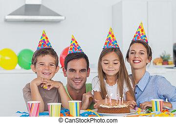 anniversaire, fille, parents, leur, célébrer