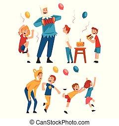 anniversaire, gosses, avoir, amuseurs, fête, exécuter,...