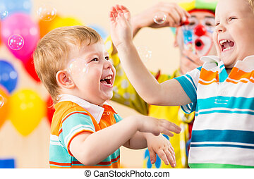 anniversaire, gosses, joyeux, clown, fête