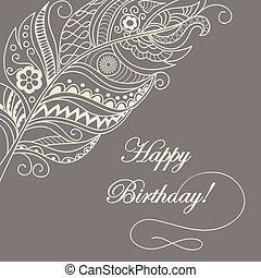anniversaire, heureux, carte, boho