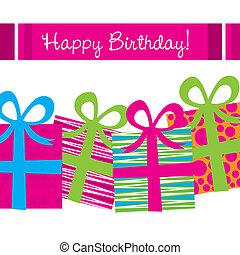 anniversaire, heureux, carte