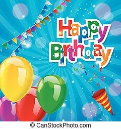 anniversaire, heureux, carte, salutation