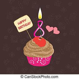 anniversaire, huit, nombre, petit gâteau