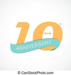 anniversaire, illustration, vecteur, gabarit, logo, 10ème