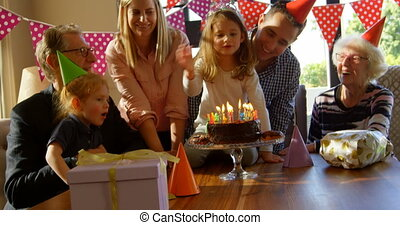 anniversaire, maison, petite fille, 4k, célébrer, famille