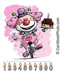 anniversaire, monocycle, porter, clown, gils's, gâteau