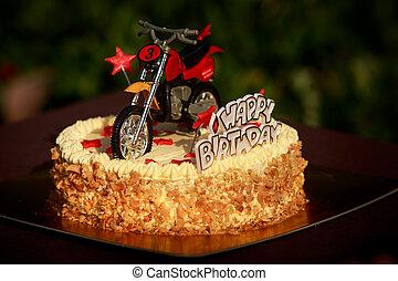 anniversaire, motocyclette, étoiles, gâteau, décoré, rouges