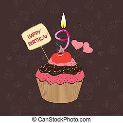 anniversaire, neuf, nombre, petit gâteau