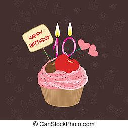 anniversaire, nombre, dix, petit gâteau