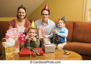 anniversaire, partie., famille