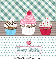 anniversaire, petits gâteaux, carte, heureux