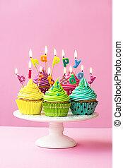 anniversaire, petits gâteaux, heureux