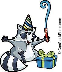 anniversaire, raton laveur, fête, utilisation