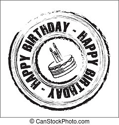 anniversaire, rond, cachet
