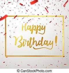 anniversaire, rouges, confetti, heureux, célébrations