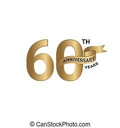 anniversaire, ruban or, couleur, 60th, années