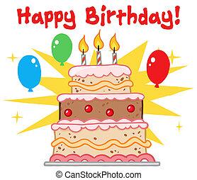 anniversaire, salutation, gâteau