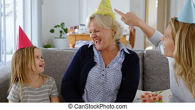 anniversaire, sofa, 4k, célébrer, famille