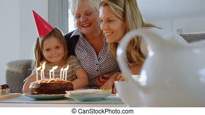 anniversaire, sofa, multi-generation, 4k, célébrer, famille