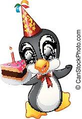 anniversaire, tenue, gâteau, heureux, dessin animé, manchots