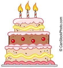 anniversaire, trois, gâteau, bougies